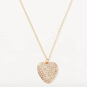 LOFT Gold Pave Heart Necklace